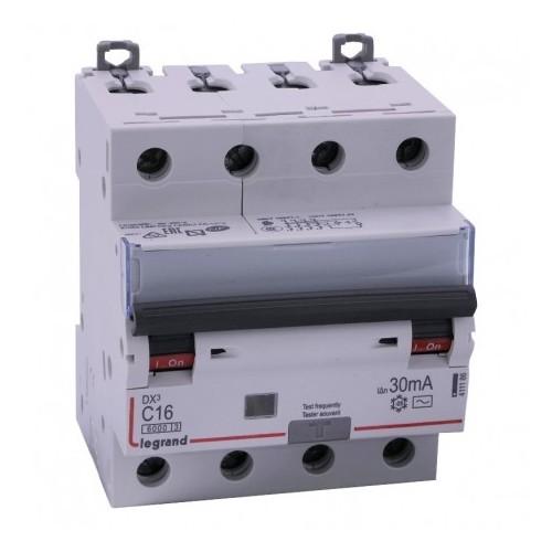 Disjoncteur différentiel monobloc tétrapolaire 16A type AC 30mA DX3-6000 10kA 400V Legrand Réf: 411186