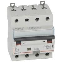 Disjoncteur différentiel tétrapolaire 16A type AC 300mA DX3 6000-10kA 400V Legrand Réf: 411205