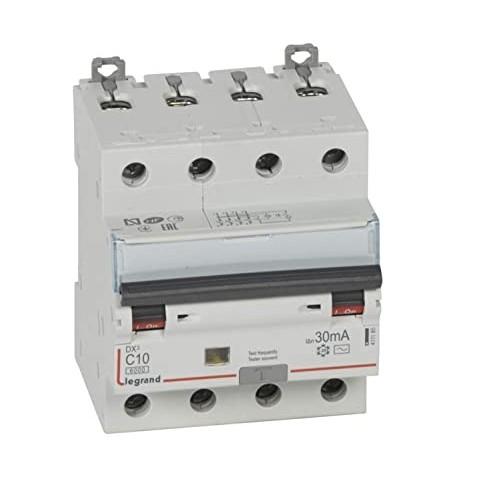 Disjoncteur différentiel monobloc tétrapolaire 10A type AC 30mA DX3 6000 10kA 400V Vis / vis Legrand Réf: 411185