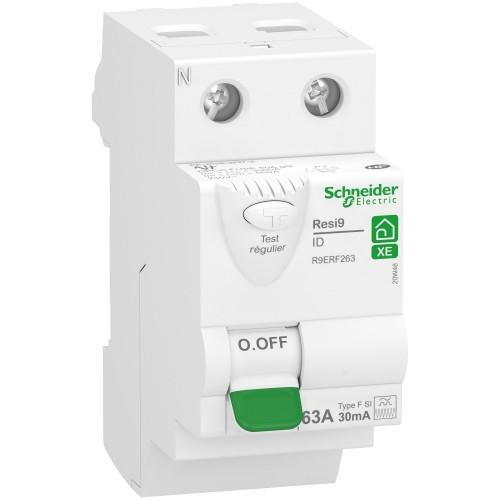 Interrupteur différentiel 2P 63A type FSI embrochable XE Schneider Réf: R9ERF263