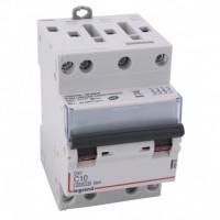 Disjoncteur DNX3 10A courbe C 400V 4500-6kA arrivée et sortie à vis tétrapolaire 3 modules Legrand Réf: 406908