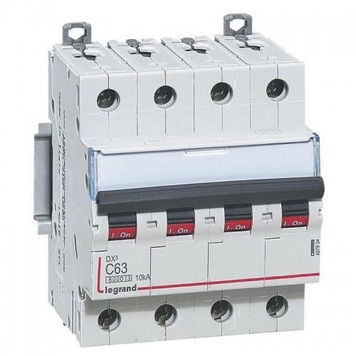 Disjoncteur DX3 63A courbe C 400V 6000-10kA arrivée haute et départ bas à vis 4 pôles Legrand Réf: 407904