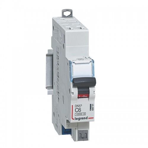 Disjoncteur 6A courbe C arrivée et sortie borne automatique 4500 - 6kA Legrand Réf: 406781