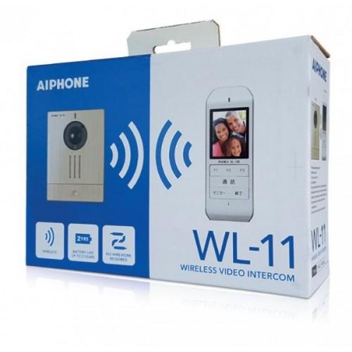 """Kit carillon vidéo sans fil WL11 - moniteur écran 2.4"""" blanc / argent Aiphone Réf: 130700"""