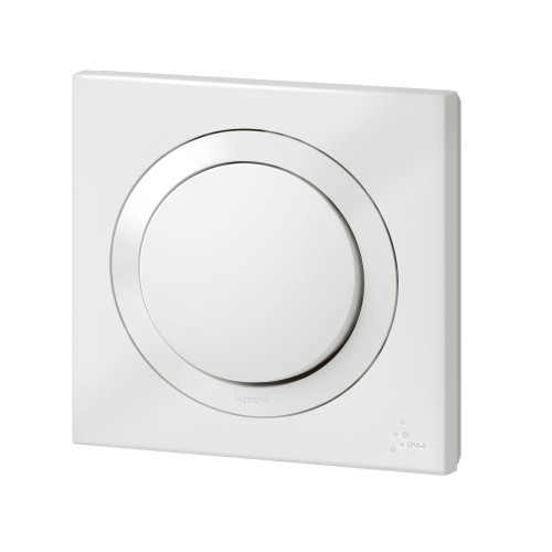 Interrupteur va et vient IP44 10AX 250V~ livré avec plaque blanche carrée Legrand Dooxie Réf: 600013