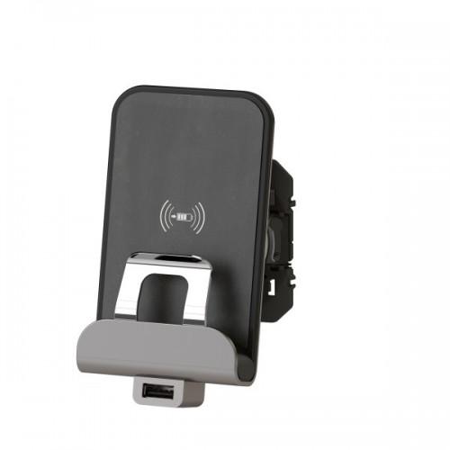 Chargeur sans fil à induction + chargeur USB type A finition métallisée Legrand Dooxie Réf: 600348