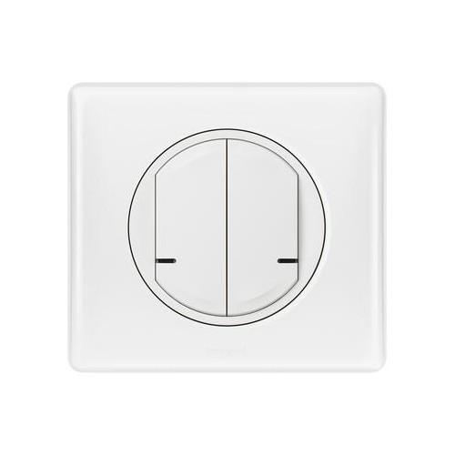 Commande double sans fil Céliane with Netatmo blanc pour éclairage ou prise connectée ou micromodule Legrand Réf: 067724