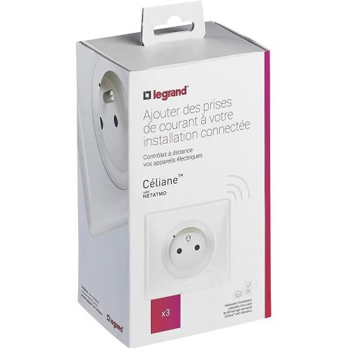 Pack prises de courant installation connectée with Netatmo 3 prises connectées blanc Legrand Celiane Réf: 067638