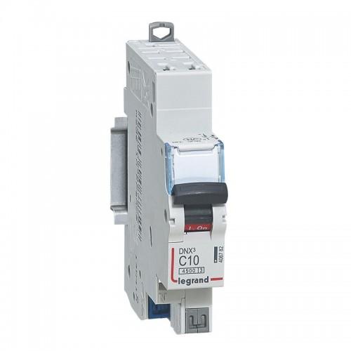 Disjoncteur Phase+ Neutre DNX3 4500 6kA automatique 10A Courbe C Legrand Réf: 406782