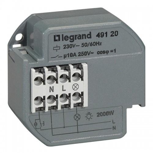 Télérupteur unipolaire 10AX 230V~ 50Hz à 60Hz intensité maximum acceptée 50mA Legrand Réf: 049120