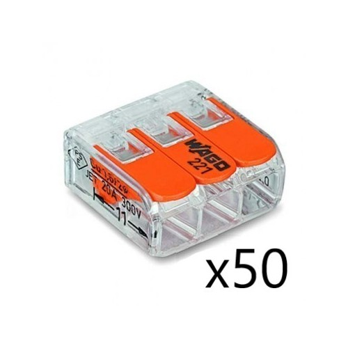 Borne de raccordement Compact Universelle - max 4 mm² - 3 conducteurs - avec levier (50 pièces) Transparent Wago Réf. 221-413