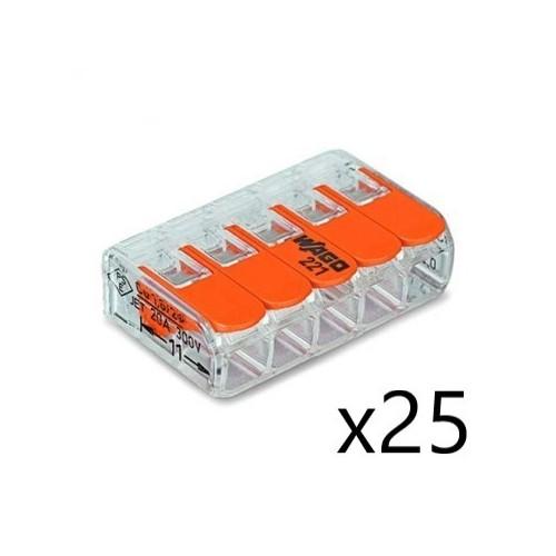 Borne de raccordement Compact Universelle - 5 conducteurs 4 mm² - avec levier (25 pièces) Transparent Wago Réf. 221-415