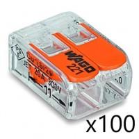 Borne de raccordement Compact Universelle - 2 conducteurs - avec levier (100 pièces) Transparent Wago Réf. 221-412