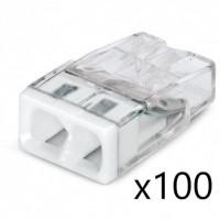 Bornes pour Boîtes de Dérivation COMPACT (x100) pour conducteurs rigides - 2x2,5mm² - WAGO - Réf. 2273-202