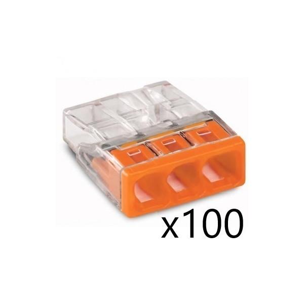 Bornes pour Boîtes de Dérivation COMPACT (x100) pour conducteurs rigides - 3x2,5mm² - WAGO - Réf. 2273-203