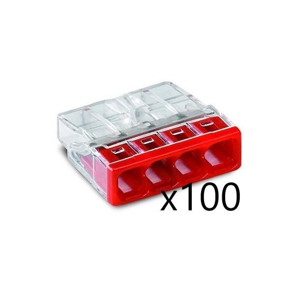 Bornes pour Boîtes de Dérivation COMPACT (x100) pour conducteurs rigides - 4x2,5mm² - WAGO - Réf. 2273-204