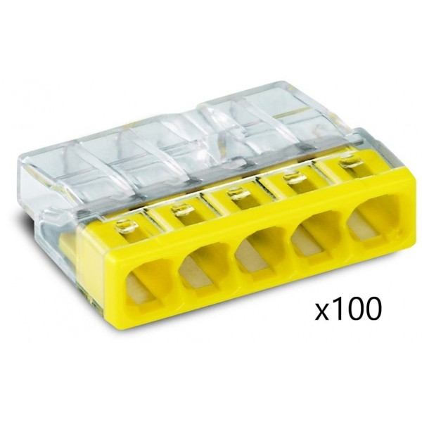 Bornes pour Boîtes de Dérivation COMPACT (x100) pour conducteurs rigides - 5x2,5mm² - WAGO - Réf. 2273-205