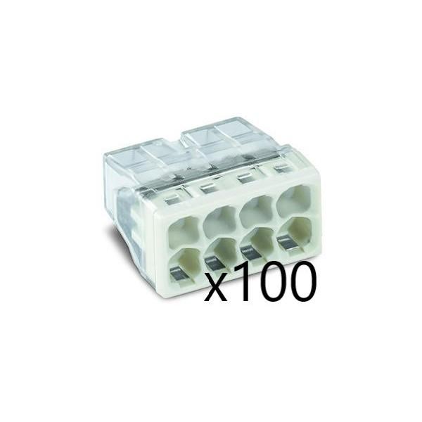 Bornes pour Boîtes de Dérivation COMPACT (x100) pour conducteurs rigides - 8x2,5mm² - WAGO - Réf. 2273-208