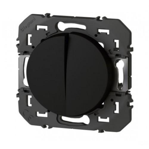 Double Interrupteur ou Va-et-vient Dooxie 10AX 250V finition noir Legrand Réf. 095261