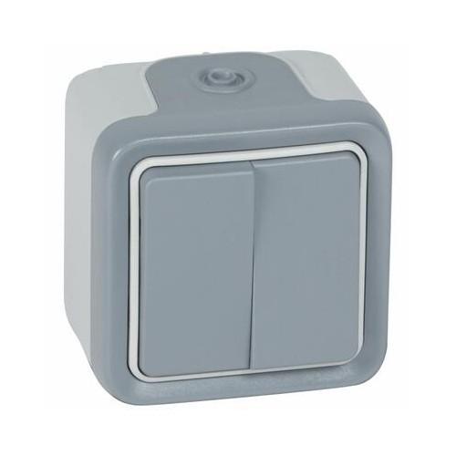Double Interrupteur ou Va-et-vient étanche Plexo complet IP55 saillie 10AX 250V gris Legrand Réf. 069715
