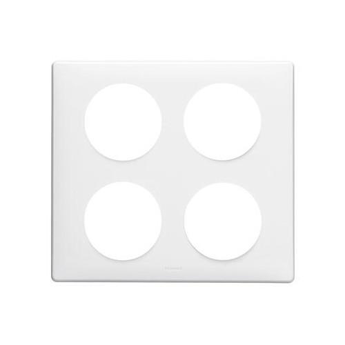 Plaque blanc laqué 2x2 postes Legrand Céliane Réf. 068608