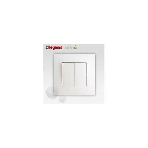 Interrupteur va et vient + bouton poussoir Blanc Complet Réf: 664709