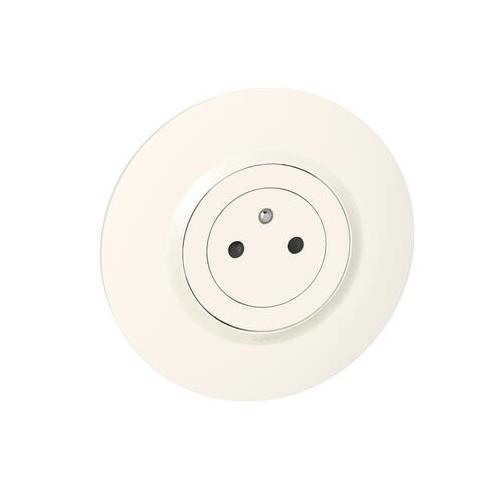 Dooxie Complet : Prise de Courant 2P+T Surface 16A et Plaque de finition ronde blanche Legrand Réf. 60060