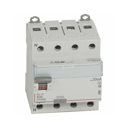 Interrupteur différentiel DX³-ID à vis - 4P 400V~ 40A type A - 4 modules Legrand Réf. 411675