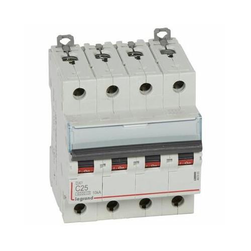 Disjoncteur DX³6000 10kA à vis 4P 400V~ - 25A courbe C pour peigne HX³ traditionnel Legrand Réf. 407900