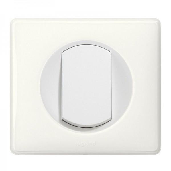 Interrupteur ou va-et-vient Céliane Soft Complet avec plaque - 10A - Blanc Legrand Réf: 099565