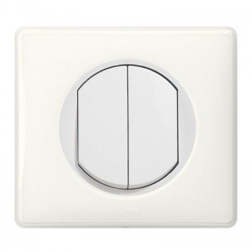 Interrupteur double va et vient Céliane Blanc Complet Réf: 003