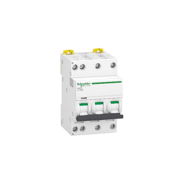 Disjoncteur modulaire Acti9 iDT40N 10A Courbe D 3P+N Schneider Réf. A9P34710