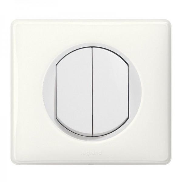 Interrupteur double bouton poussoir Céliane Blanc Complet Réf: 033