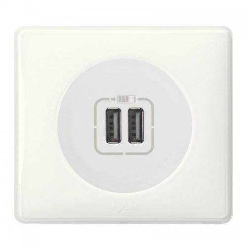 Prise double USB blanc Céliane Complète Réf: 462