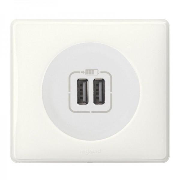 Prise double USB blanc Céliane Complet Réf: 462