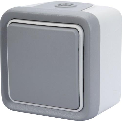 Bouton poussoir étanche Plexo IP55 gris Réf: 069720