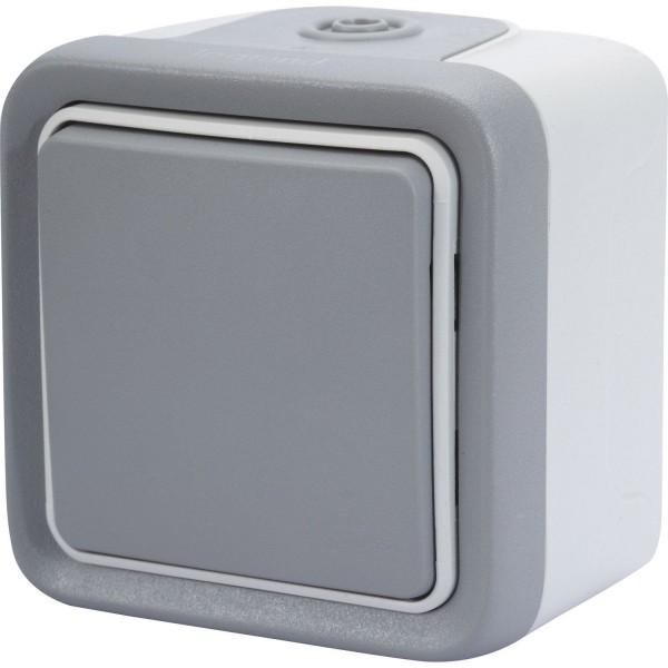 Bouton poussoir étanche Plexo IP55 gris Legrand Réf: 069720