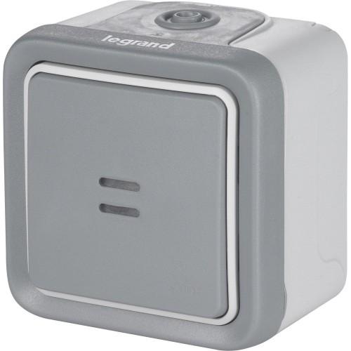 Interrupteur ou va-et-vient lumineux étanche Plexo Complet saillie gris Réf: 069713