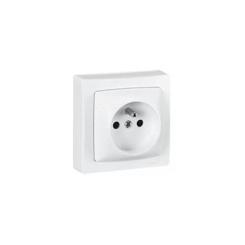 Prise de courant 2P + T à bornes automatiques Otéo - Appareillage en Saillie Complet - Blanc - Réf: 086027