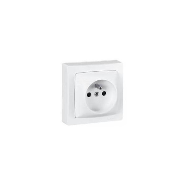 LEGRAND Prise de courant 2P + T à bornes automatiques - Appareillage Saillie Complet - Blanc - réf. 86027