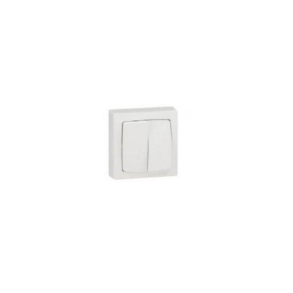 Interrupteur Double va-et-vient blanc Appareillage Saillie Complet Otéo Legrand - Réf. 086020