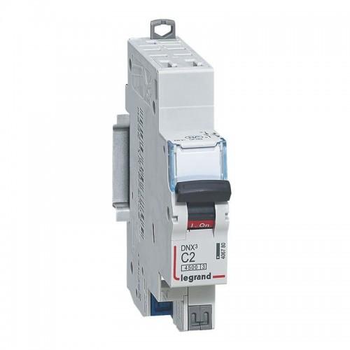 Disjoncteur Phase+Neutre DNX3 4500 6kA arrivée et sortie borne automatique - 1P+N 230V 2A Courbe C Legrand Réf: 406780