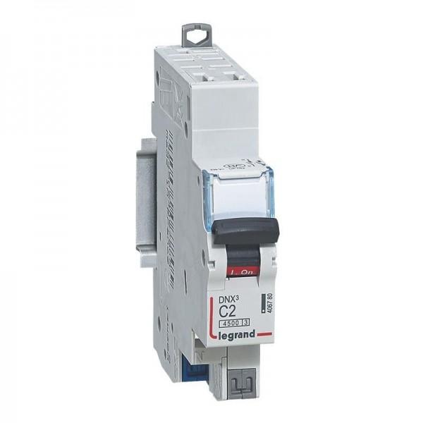 Disjoncteur borne automatique 1P+N 230V 2A Courbe C Legrand Réf: 406780