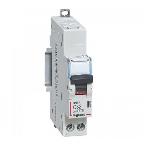 Disjoncteur Phase+Neutre DNX3 4500 6kA arrivée borne automatique sortie borne à vis - 1P+N 230V 32A Courbe C Legrand Réf: 406786