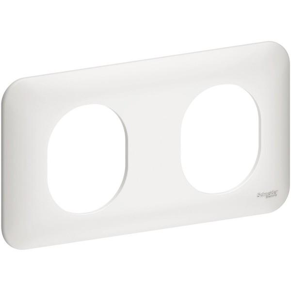 Plaque de finition double horizontale Schneider Ovalis Réf: S260704