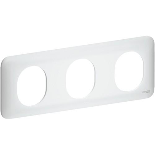 Plaque de finition triple horizontale blanc satin Schneider Ovalis Réf: S260706