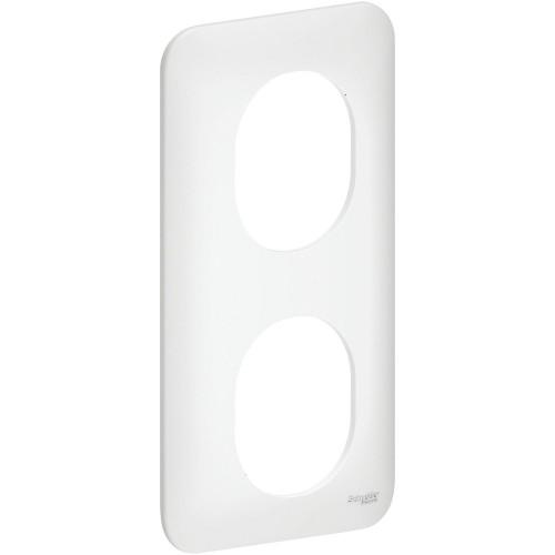 Plaque de finition double blanc satin verticale Schneider Ovalis Réf: S260724