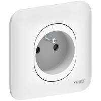 Double Prise de courant 2P + T avec plaque blanc Ovalis Schneider Réf : S261059