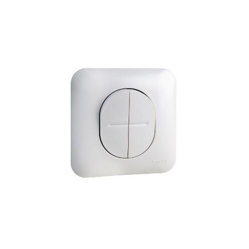 Double bouton poussoir avec plaque blanc satin Schneider Ovalis Réf : S261216
