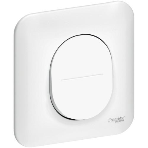 Interrupteur va et vient + plaque blanc satin Schneider Ovalis Réf : S261204